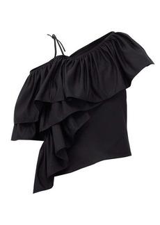 Marques' Almeida Marques'Almeida Upcycled one-shoulder cotton-twill top