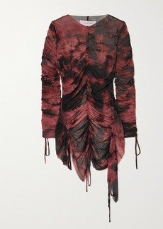 Marques' Almeida Net Sustain Gathered Tie-dyed Recycled Stretch-mesh Top