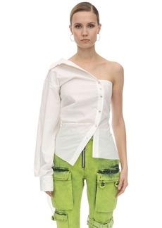 Marques' Almeida One Shoulder Draped Cotton Poplin Shirt