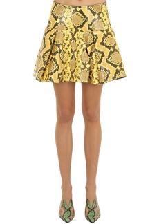 Marques' Almeida Pleated Snake Print Leather Mini Skirt