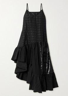 Rem'ade By Marques' Almeida Patchwork Cotton-seersucker, Poplin And Sequined Tulle Dress