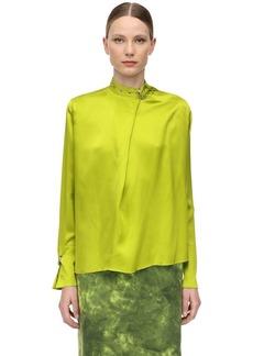 Marques' Almeida Satin Shirt W/ Buckle Collar