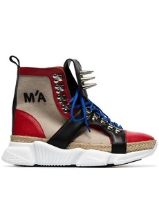 Marques' Almeida spike embellished canvas hi top sneakers