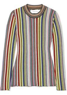 Marques' Almeida Striped Crocheted Merino Wool Top