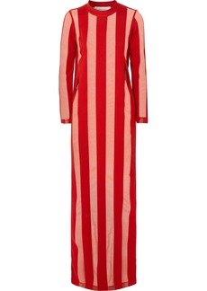 Marques' Almeida Striped devoré-chiffon maxi dress