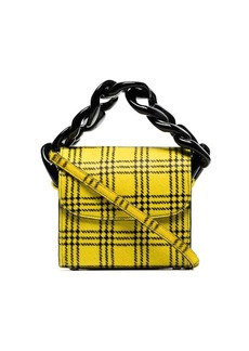 Marques' Almeida yellow and black Tartan Chain Pony Hair Mini Bag
