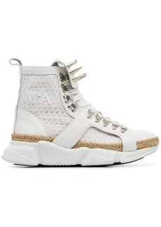 Marques' Almeida white spike mesh and leather high top sneakers