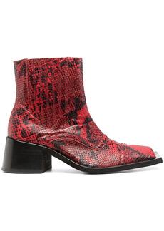 Martine Rose embossed snakeskin effect boots