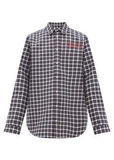 Martine Rose Logo-embroidered checked bonded-cotton shirt