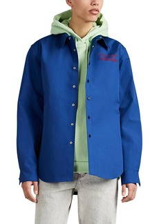 Martine Rose Men's Logo-Embroidered Bonded Cotton Poplin Shirt
