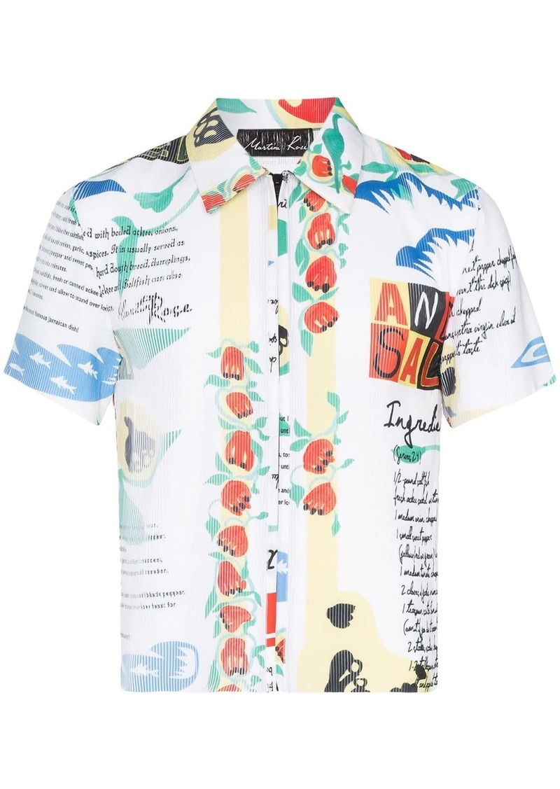 Martine Rose plissé printed zip-up shirt