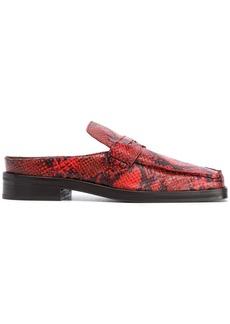 Martine Rose square neck snakeskin print loafers