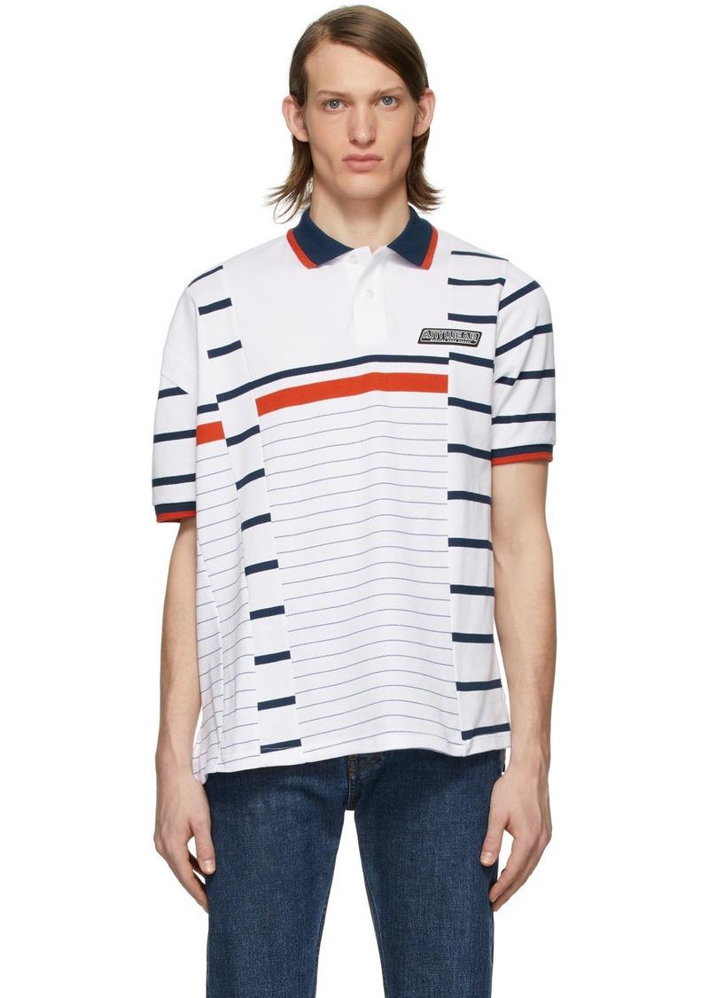 Martine Rose White Striped Polo