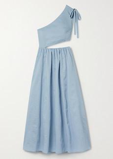 Marysia Alberobello One-shoulder Cutout Cotton-seersucker Midi Dress
