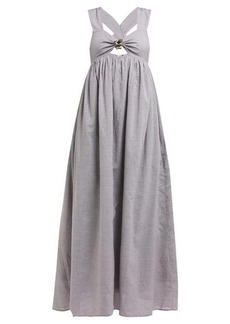 Marysia East Hampton cut-out gingham poplin dress