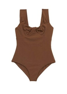 Marysia Lehi twist-front basketweave swimsuit
