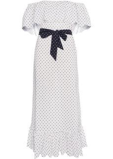 Marysia off shoulder polka dot midi dress - White