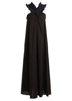 Marysia Polka-dot crossover-front cotton maxi dress