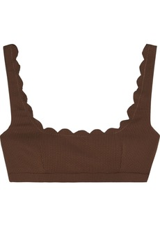 Marysia Woman Scalloped Textured Stretch-crepe Bikini Top Brown