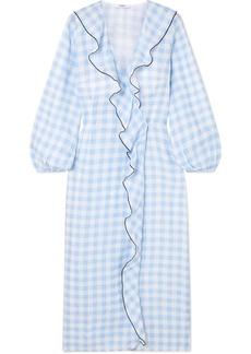 Marysia Ruffled Gingham Linen Wrap Dress
