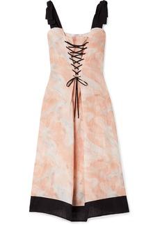 Marysia Santaquin Lace-up Printed Linen Midi Dress