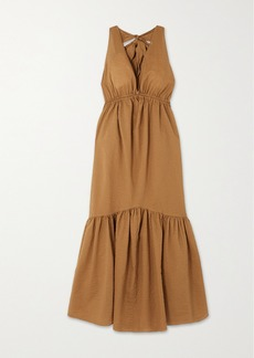 Marysia Seashell Cotton-seersucker Halterneck Midi Dress