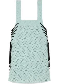 Marysia Waikiki Lace-up Broderie Anglaise Cotton Mini Dress