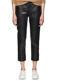 Mason by Michelle Mason Women's Leather Boyfriend Crop Jeans