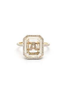 Mateo Initials diamond, quartz & 14kt gold ring A-I