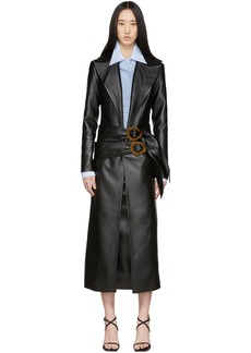 Matériel Tbilisi Black Faux-Leather Belt Coat