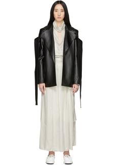 Matériel Tbilisi Black Faux-Leather Tie Blazer