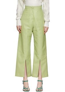 Matériel Tbilisi Green Faux-Leather Slit Pants