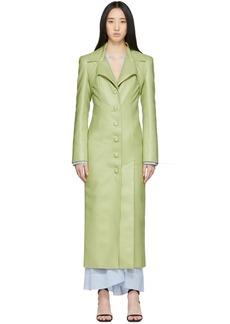 Matériel Tbilisi Green Faux-Leather Tie Coat