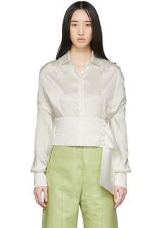 Matériel Tbilisi White Jacquard Cropped Shirt