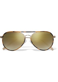 Matthew Williamson Aviator-style acetate and gold-tone mirrored sunglasses
