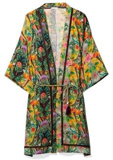 Matthew Williamson Mediterranean Medley lattice-trimmed printed silk-chiffon kimono