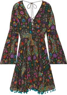 Matthew Williamson Pampas Peacock pompom-embellished printed silk crepe de chine mini dress
