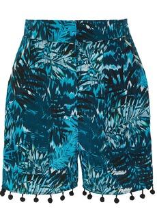 Matthew Williamson Pompom-embellished printed silk crepe de chine shorts