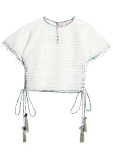Matthew Williamson Woman Lace-up Pompom-trimmed Guipure Lace Top White