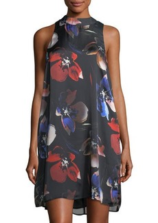 Matty M Mock-Neck Floral-Print Dress
