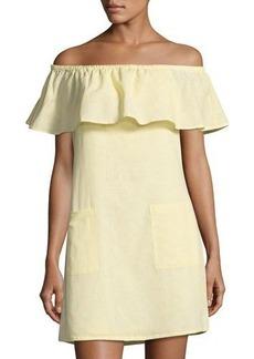 Matty M Off-the-Shoulder Linen-Blend Dress