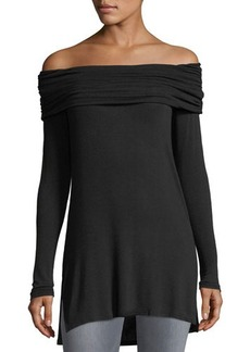 Matty M Off-The-Shoulder Long Knit Tee
