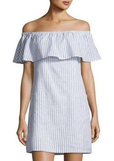 Matty M Striped Off-the-Shoulder Linen-Blend Dress