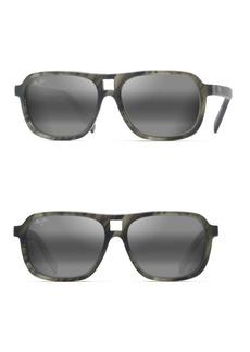 Maui Jim 57MM Little Maks Matte Smoke Grey Rectangular Sunglasses