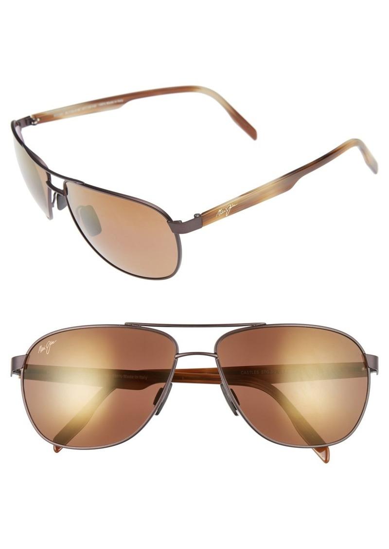 Maui Jim Castles PolarizedPlus®2 61mm Aviator Sunglasses