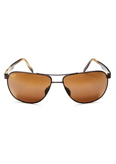 Maui Jim Men's Castles Polarized Brow Bar Aviator Sunglasses, 65mm