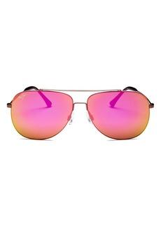 Maui Jim Unisex Cinder Cone Polarized Brow Bar Aviator Sunglasses, 58mm