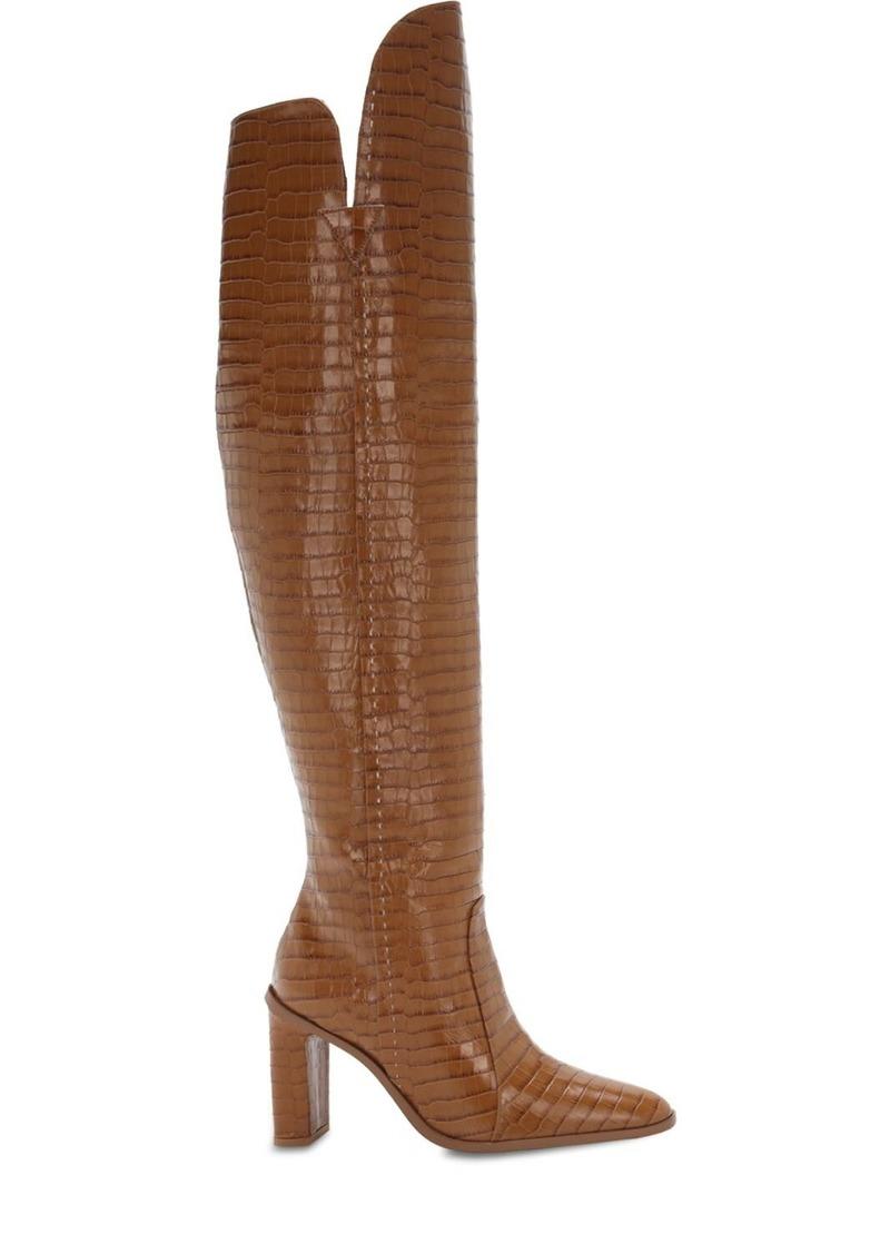 Max Mara 100mm Beboot Croc Embossed Leather Boots