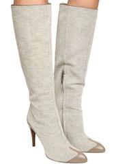 Max Mara 100mm Becky Linen & Leather High Boots