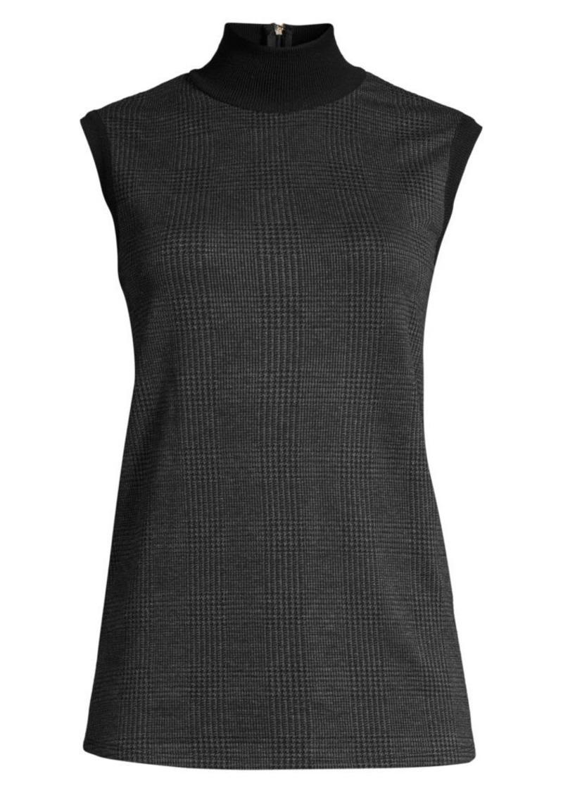 Max Mara Abate Sleeveless Houndstooth Stretch-Wool Turtleneck Top
